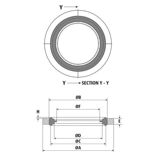 Disegno tecnico guarnizioni Fluid Connector