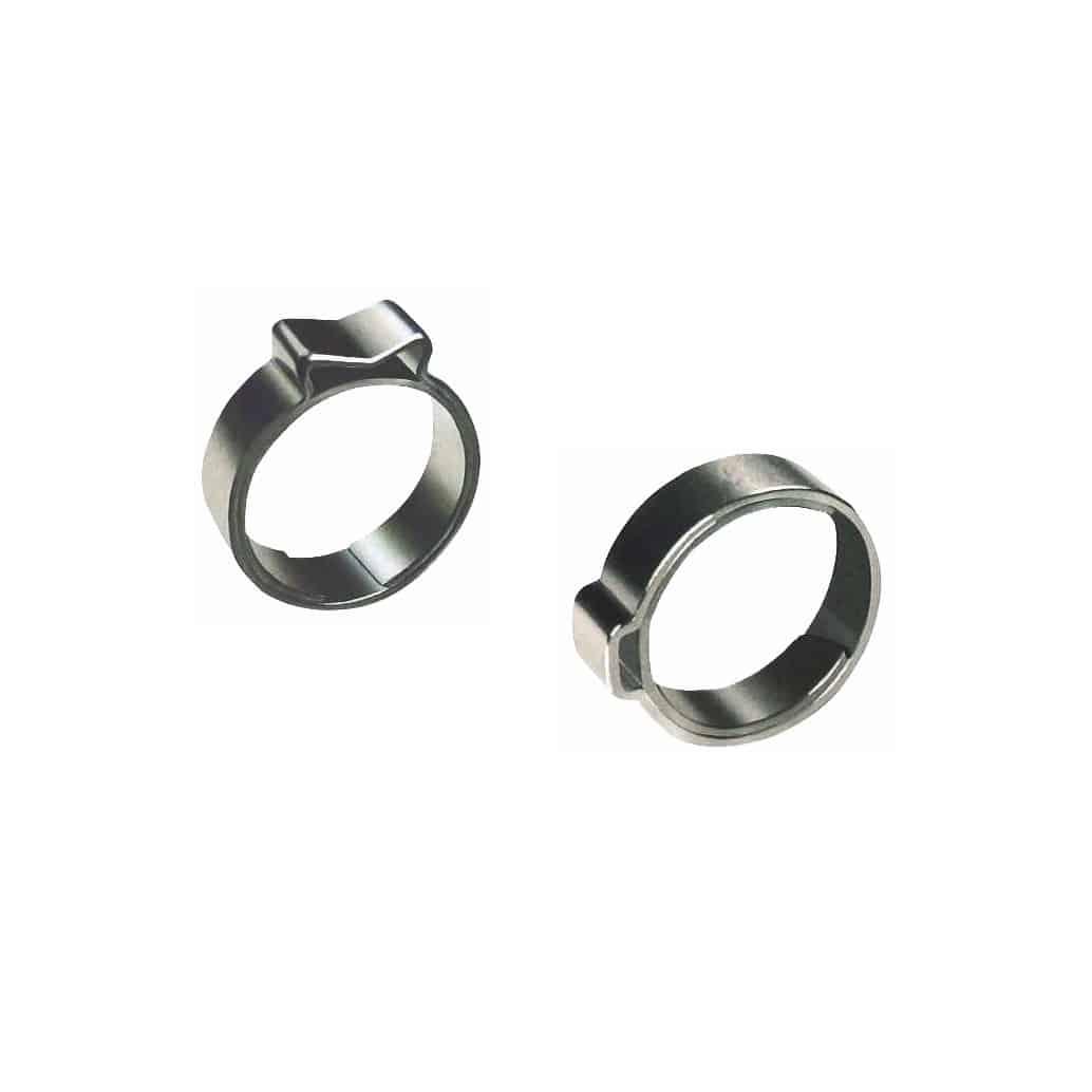 Fascette stringitubo pinzabili ad orecchio con anello di protezione
